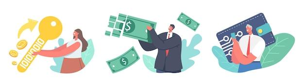 Stel digitale portemonnee, online betaling, elektronische virtuele transactie in. kleine mannelijke en vrouwelijke personages maken geld over via een cashloos betaalplatform of applicatie. cartoon mensen vectorillustratie