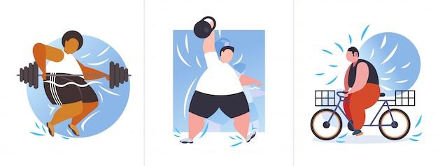 Stel dikke zwaarlijvige mensen in verschillende poses overgewicht mix race mannelijke karakters collectie zwaarlijvigheid gewichtsverlies concept