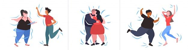 Stel dikke zwaarlijvige mensen in verschillende poses overgewicht mix race mannelijke vrouwelijke personages collectie zwaarlijvigheid gewichtsverlies concept