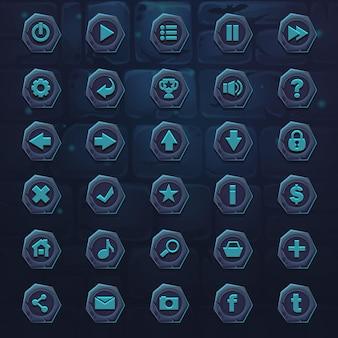 Stel donkere ijsblauwe knoppen in voor games