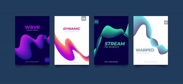 Stel dynamische abstracte vloeiende golf achtergrond