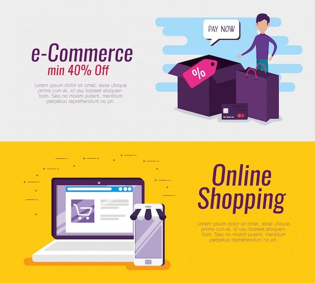 Stel e-commerce voor laptop en smartphone in met pakketten en tassen