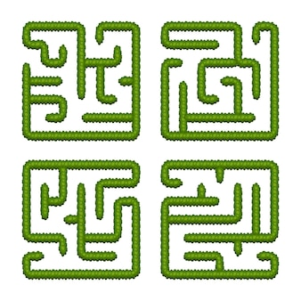 Stel educatieve logische spellen bush-labyrinten voor kinderen in. vind de juiste weg. geïsoleerde eenvoudige vierkante doolhoven op witte achtergrond.
