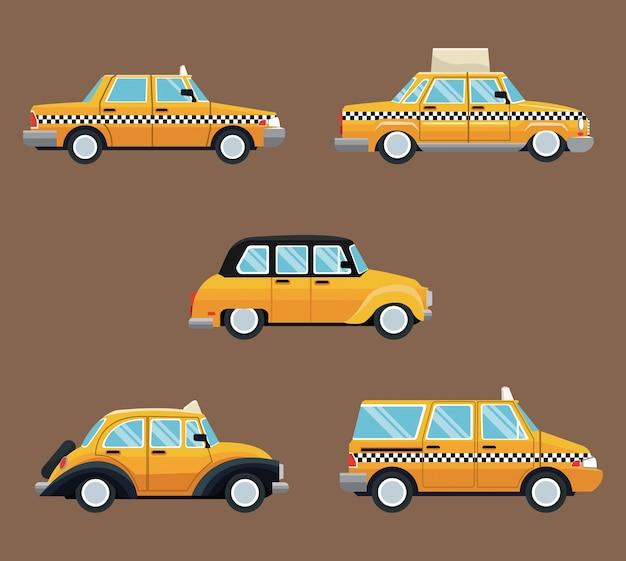 Stel een ander zijaanzicht van de taxi in