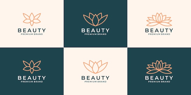Stel een bundel creatief lotusbloemlogo-ontwerp in voor uw zakelijke salon, spa, cosmetica, resort enz.