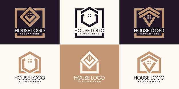 Stel een bundel huislogo-ontwerp in met lijnstijl en creatief concept premium vector