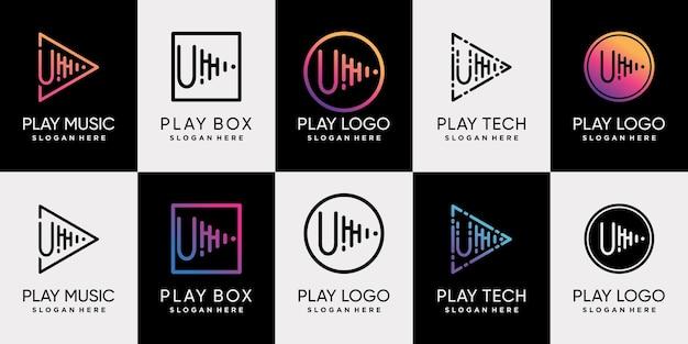 Stel een bundel met speelmuziek-logo-ontwerp in met de eerste letter u en een unieke lijnkunststijl premium vector