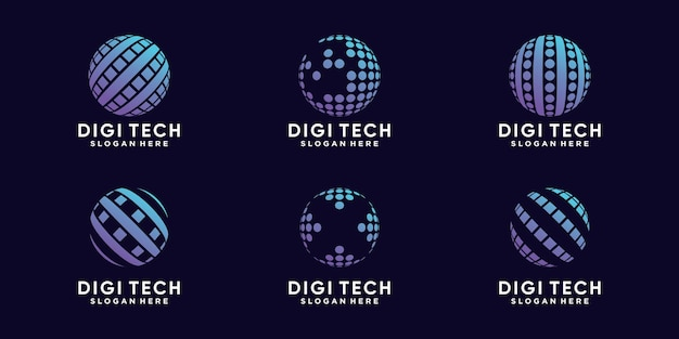 Stel een bundel van digitale wereldlogo-ontwerptechnologie in met creatief concept premium vector