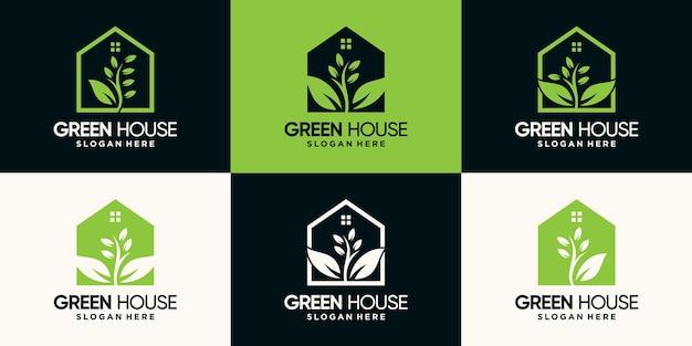 Stel een bundel van groen huis-logo-ontwerp in met lijnkunststijl en negatief ruimteconcept premium vector