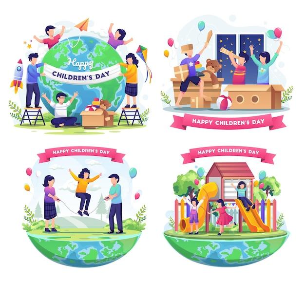 Stel een bundel van wereldkinderdag in met gelukkige kinderen over de hele wereld die zich bezighouden met decoratieillustratie