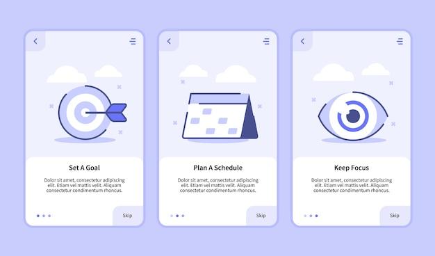 Stel een doelplan in, een schema, blijf focus onboarding-scherm voor mobiele apps, sjabloon, bannerpagina ui, platte omtrekstijl.