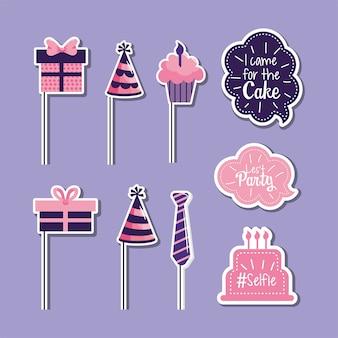 Stel een gelukkige verjaardag met feestdecoratie