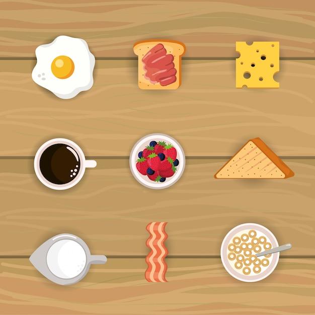 Stel een heerlijk ontbijt met ontbijtgranen en gesneden brood