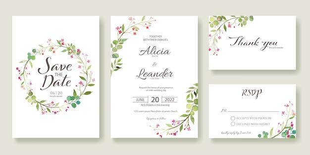 Stel een huwelijksuitnodiging in, bewaar de datum, bedankt, rsvp-kaartsjabloon.