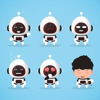 Stel een leuke cartoonrobot, mascotte met uitdrukkingen in