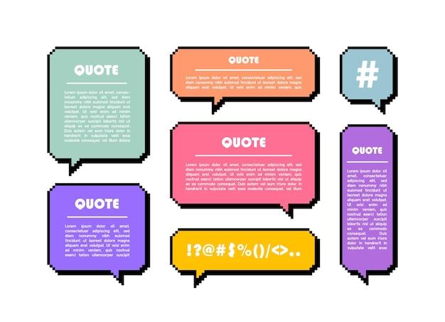 Stel een pixel-tekstballon in een andere vorm in. geometrische sms-dialoogvensters. de tekstballon van het gekleurde citaatvakje.
