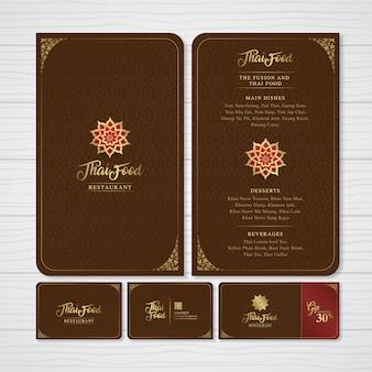 Stel een thaise kunstmenu-tempel, naamkaart en cadeaubon in