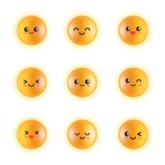 Stel emoji met geel gezicht, sprankelende dooiercirkel, gloeiende bollen, glanzende dooier, kippeneieren in
