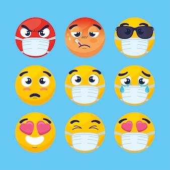 Stel emoji's met medisch masker, gezichten emoji's met chirurgisch masker iconen vector illustratie ontwerp Premium Vector