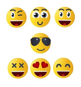 Stel emoticon geluk in