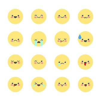 Stel emoticons-pictogrammen in voor applicaties en chat-emoticons met verschillende emoties