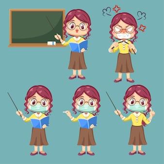 Stel emotie van vrouwelijke leraar in stripfiguur en verschilactie, geïsoleerde vlakke afbeelding