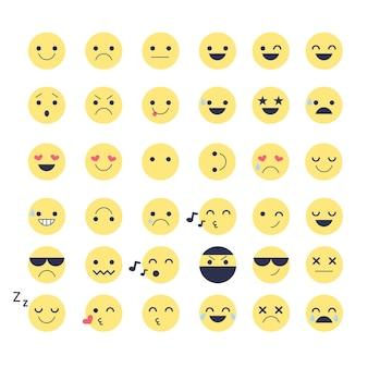 Stel emotiepictogrammen in voor toepassingen en chat-emoticons met verschillende emoties