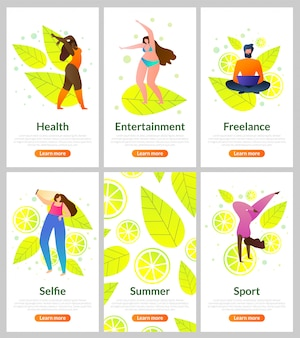 Stel flat card in hoe u zomer, entertainment doorbrengt