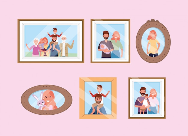 Stel foto's van gelukkige familiefoto's in