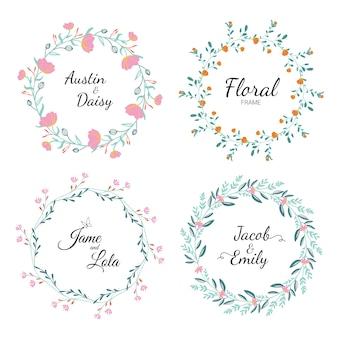 Stel frame floral frame uitnodiging in