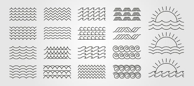 Stel gebundeld golf pictogram logo vector minimale afbeelding ontwerp, lijn kunst wave pack logo ontwerp
