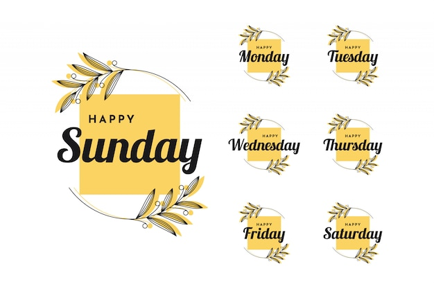 Stel gelukkige maandag in op gelukkig zondag vintage design