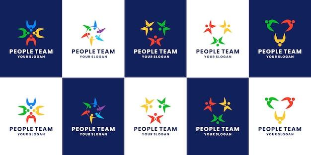 Stel gemeenschapsmens, teamwerk, partnerschapslogo-ontwerp in