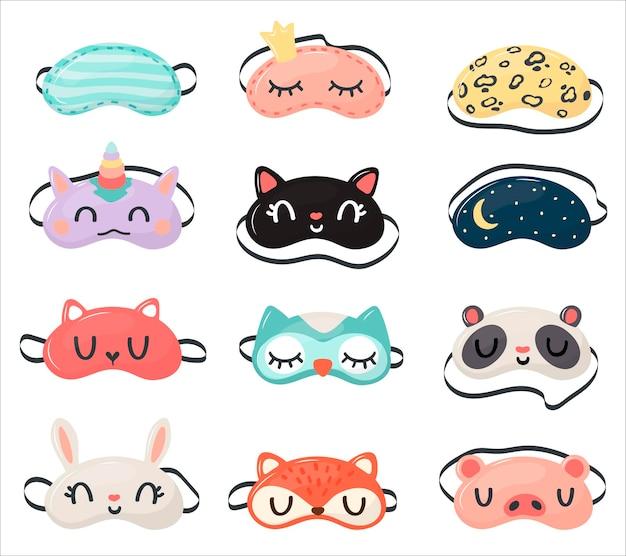 Stel gezichtsmasker in voor slapende mens met hond, hert, uil, schaap, konijn, pinguïn, unico en wolk in vlakke stijl vectorillustratie.