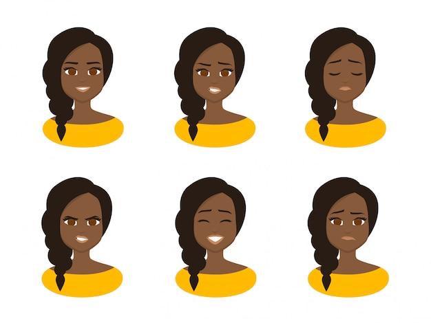 Stel gezichtsuitdrukkingen van jonge afrikaanse zakenvrouw dragen gele kostuum.