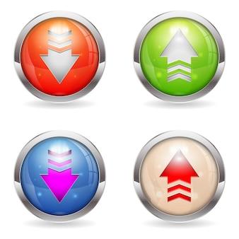 Stel glanzende download- en uploadknoppen in