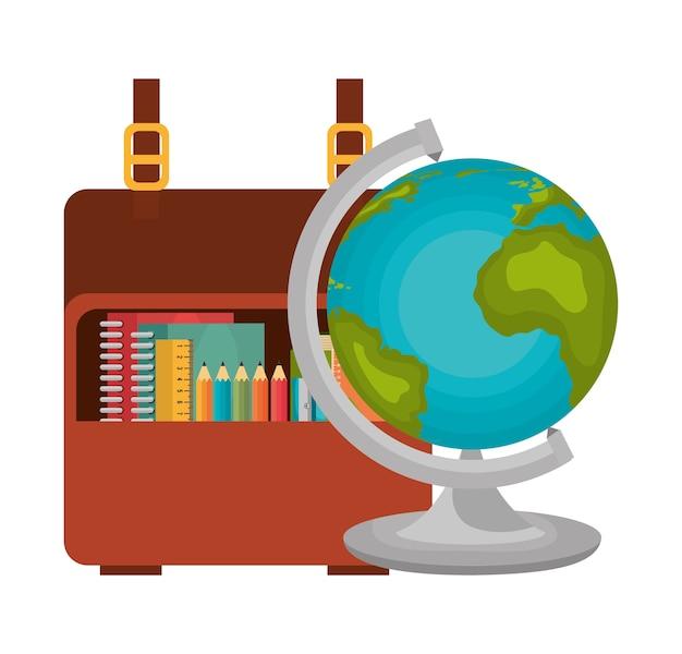 Stel globe en tas school pictogrammen