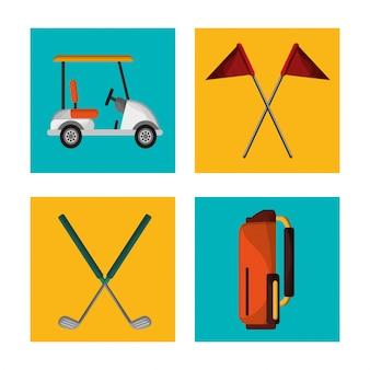 Stel golfuitrusting ontwerp