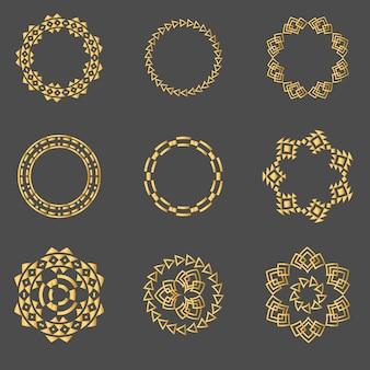 Stel gouden geometrische borden labels frames hipster vierkante collectie in