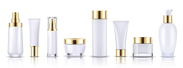 Stel gouden kosmetische flessenverpakkingsmodel in