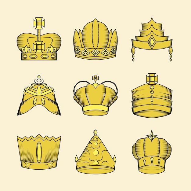 Stel gouden kroon in