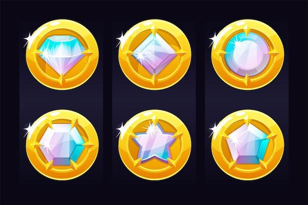 Stel gouden munten in met edelstenen