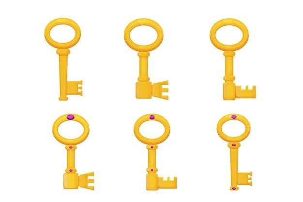 Stel gouden oude sleutel versierd met edelstenen in cartoon stijl geïsoleerd op een witte achtergrond