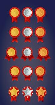 Stel gouden, zilveren en bronzen medaille voor de kampioenschappen in