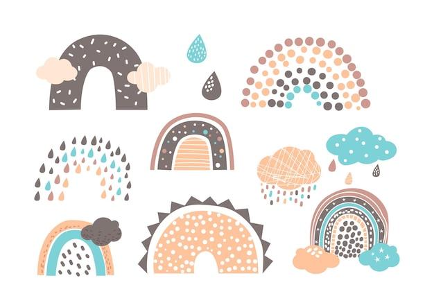 Stel grappige regenbogen in in schattige scandinavische stijl, trendy ontwerp voor babypatronen of behang. pastelkleurige regendruppels, wolken