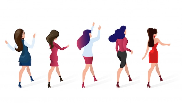 Stel groep vrouwen gaan winkelen vectorillustratie.