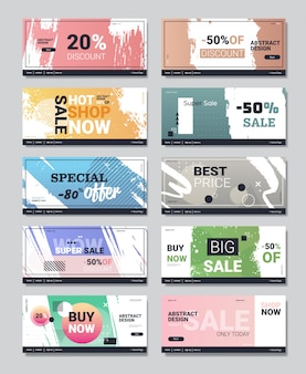 Stel grote verkoop banners speciale aanbieding promo campagne reclame lay-out posters winkelen korting concept sjablonen collectie verticale kopie ruimte