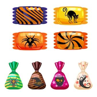 Stel halloween-snoepjes kleurrijk in met halloween-personages en -elementen. snoepjes lollies chocolade