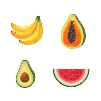 Stel heerlijke tropische organische vruchten voedingsstoffen