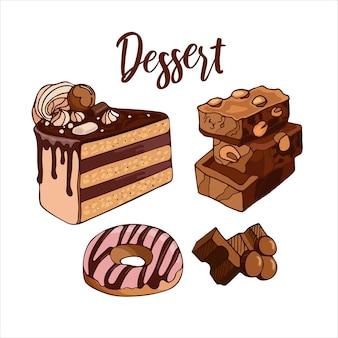 Stel heldere heerlijke melkchocolade stukjes cake donut vectorillustratie van dessertvoedsel